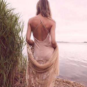 LoveShackFancy Kate Slip Dress Toasted Almond